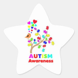 Árbol de la conciencia del autismo pegatina en forma de estrella