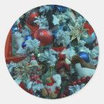 Árbol de la decoración de la alegría del navidad pegatina redonda