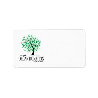 Árbol de la donación de órganos etiquetas de dirección