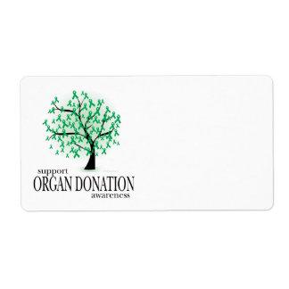 Árbol de la donación de órganos etiquetas de envío