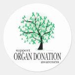 Árbol de la donación de órganos etiquetas redondas