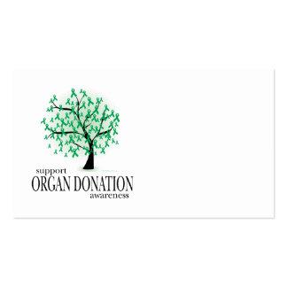 Árbol de la donación de órganos tarjetas de visita