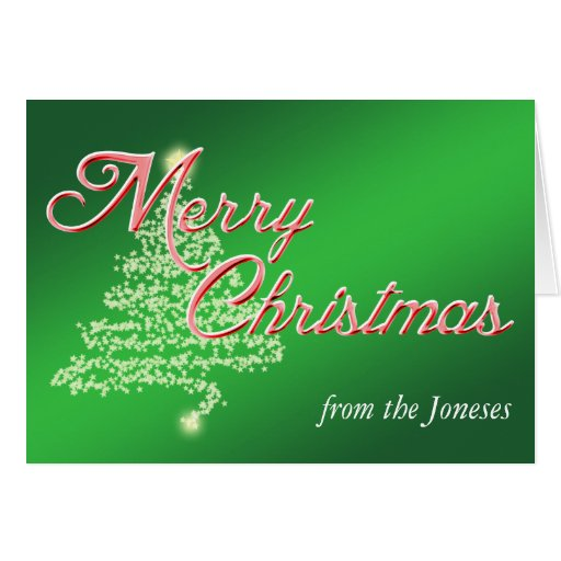 Árbol de la estrella de las Felices Navidad - verd Felicitacion