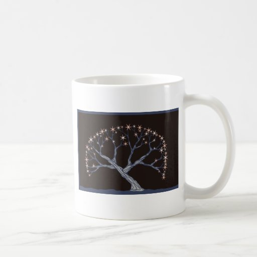 Árbol de la estrella del gris azul taza de café
