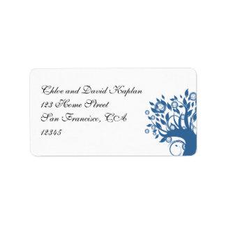 Árbol de la etiqueta de dirección del azul que se