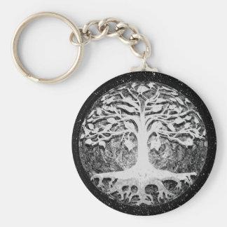 Árbol de la fe y de la esperanza de la vida blanco llavero redondo tipo pin