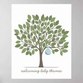 Árbol de la firma del bebé - grande - azul póster
