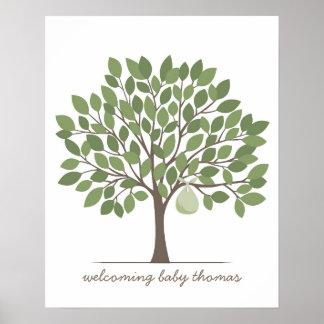 Árbol de la firma del bebé - grande - verde póster