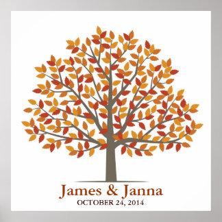 Árbol de la firma del boda - caída clásica poster