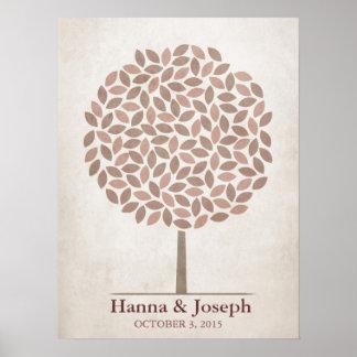 Árbol de la firma del boda - caída rústica posters