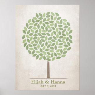 Árbol de la firma del boda - rústico poster