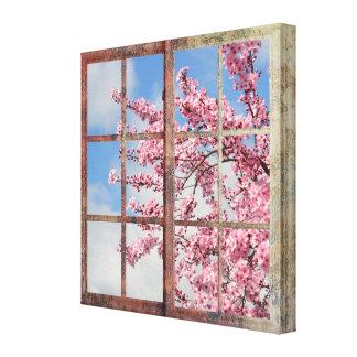 Árbol de la flor de cerezo de la ventana impresiones en lienzo estiradas