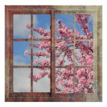 Árbol de la flor de cerezo de la ventana poster