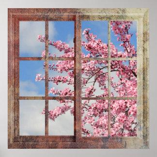 Árbol de la flor de cerezo de la ventana póster