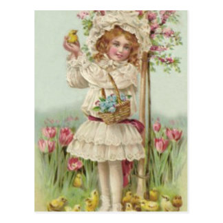 Árbol de la flor de cesta del polluelo de Pascua d Tarjetas Postales