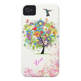 Árbol de la flor iPhone 4 Case-Mate fundas