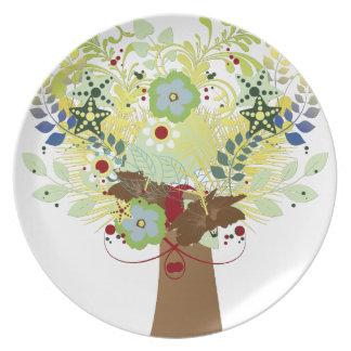 Árbol de la flor plato para fiesta