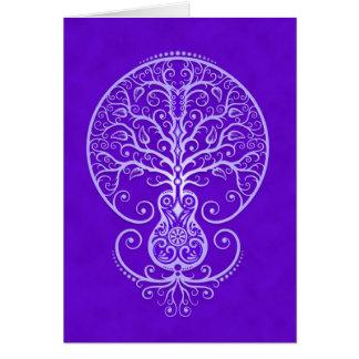 Árbol de la guitarra - azul tarjeta de felicitación