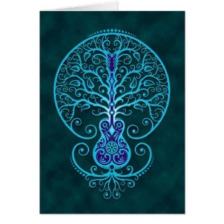 Árbol de la guitarra, azul tarjeta de felicitación