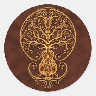 Árbol de la guitarra, Brown de oro Pegatina Redonda