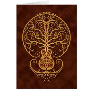 Árbol de la guitarra, Brown de oro Tarjeta De Felicitación