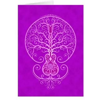Árbol de la guitarra - púrpura tarjeta de felicitación