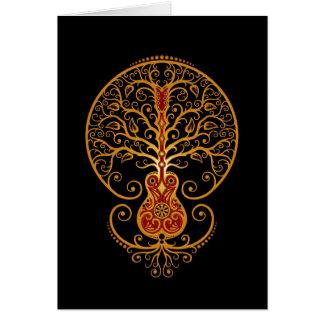 Árbol de la guitarra - rojo de oro en negro tarjeta de felicitación