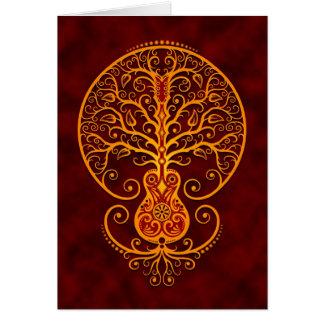 Árbol de la guitarra, rojo de oro tarjeta de felicitación