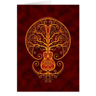 Árbol de la guitarra - rojo de oro tarjeta de felicitación