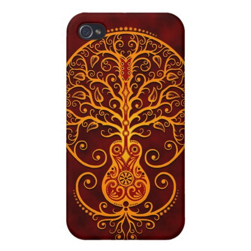Árbol de la guitarra (rojo) iPhone 4 fundas