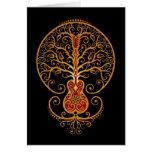 Árbol de la guitarra, rojo y negro de oro tarjeta
