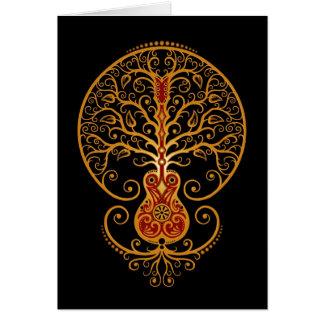 Árbol de la guitarra, rojo y negro de oro tarjeta de felicitación