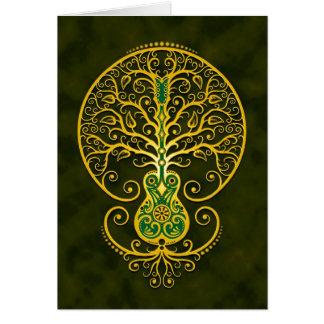 Árbol de la guitarra, verde de oro tarjeta de felicitación