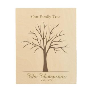 Árbol de la huella dactilar de la familia impresión en madera