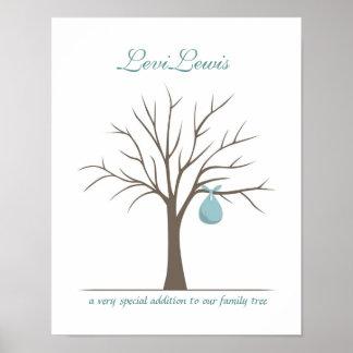 Árbol de la huella dactilar del bebé - azul póster