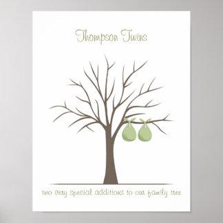 Árbol de la huella dactilar del bebé - gemelos póster