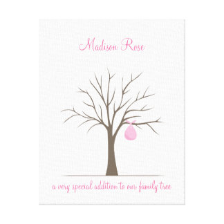 Árbol de la huella dactilar del bebé - rosa impresión de lienzo