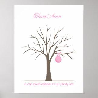 Árbol de la huella dactilar del bebé - rosa poster