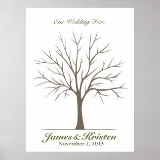 Árbol de la huella dactilar del boda - obra clásic poster