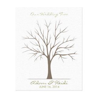 Árbol de la huella dactilar del boda - obra impresión en lona