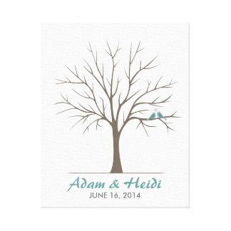 Árbol de la huella dactilar del boda - pájaros clá lienzo envuelto para galerías