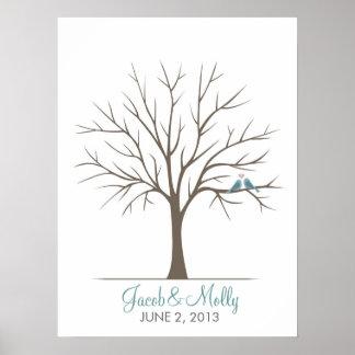 Árbol de la huella dactilar del boda - pájaros clá poster