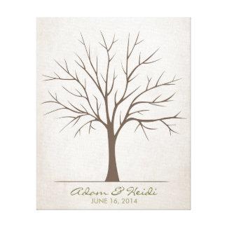Árbol de la huella dactilar del boda - rústico impresiones en lona
