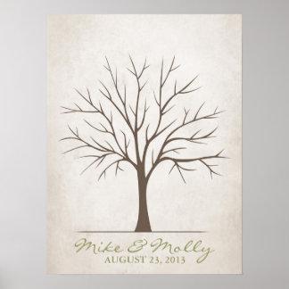 Árbol de la huella dactilar del boda - rústico poster
