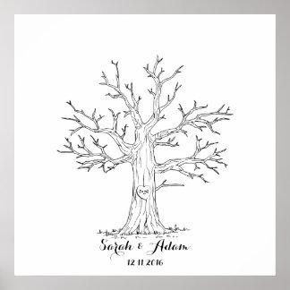 Árbol de la huella dactilar del boda - un gran póster