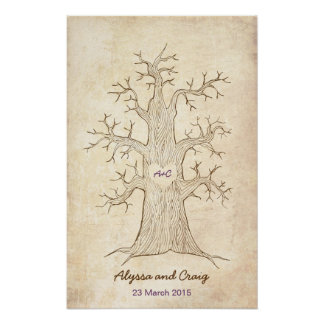 Árbol de la huella dactilar que casa la púrpura (v poster