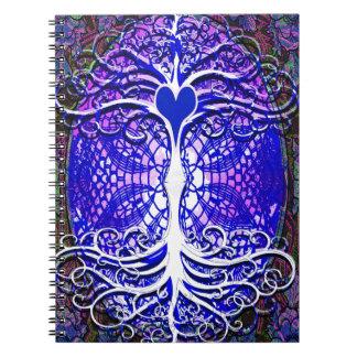 Árbol de la imaginación de la vida spiral notebook