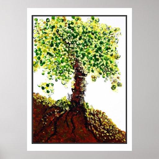 Árbol de la impresión de la vida póster