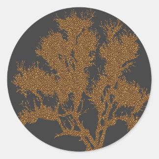 Árbol de la impresión del guepardo pegatina redonda