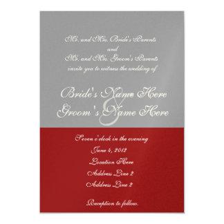 Árbol de la invitación gris roja del boda del amor invitación 12,7 x 17,8 cm